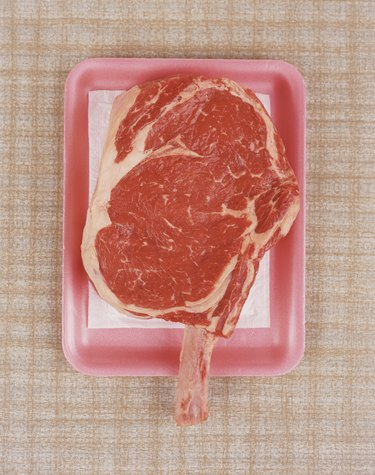 Raw Piece of Meat on Pink Tray
