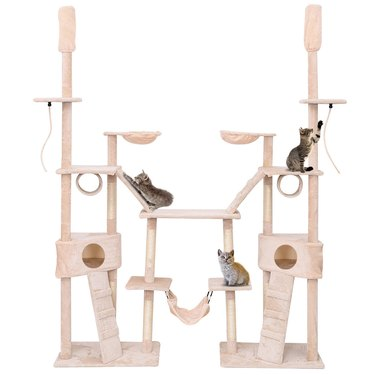 Multilevel Cat Tree by Gymax with Activity Tower Condo, Hammock, and Scratching Post Ropes