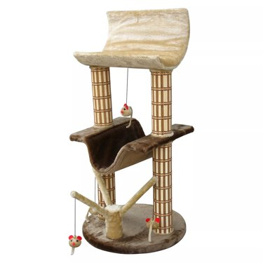 Multilevel Cat Tree with Lounger and Bamboo Scratching Posts $52.99