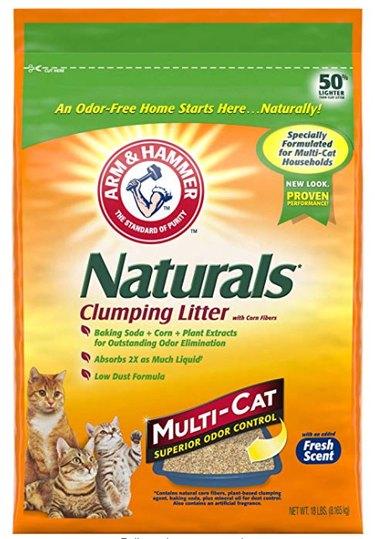 A bag of Arm & Hammer Naturals Clumping Litter