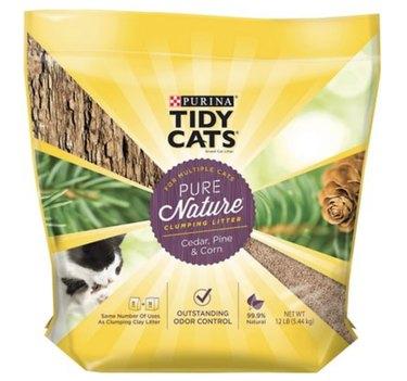 A bag of Tidy Cats Pure Nature Cat Litter