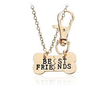 2 piece charm necklace in shape of dog bone