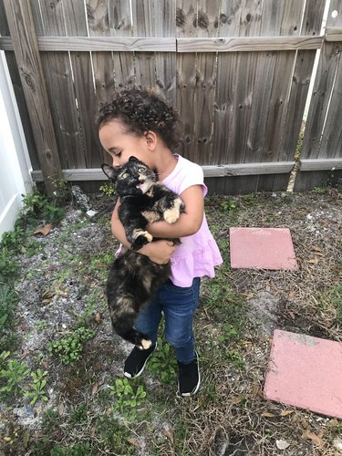 """Toddler holding cat and the cat is like """"OMG"""""""