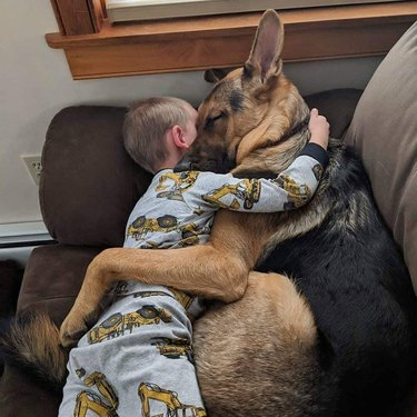 Toddler and German Shepherd cuddling