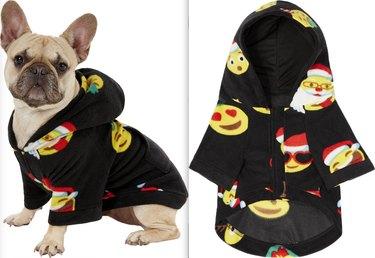 dog wearing Holiday Emoji Dog Fleece Pajamas