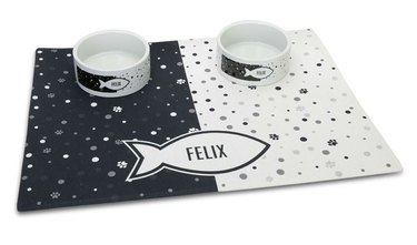 personalized pet bowls and mat set