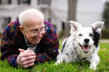 Chaser the Border Collie with her owner, John Pilley Jr