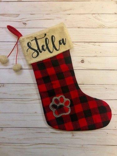 plaid paw stocking