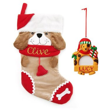 Pup with a Santa Hat Stocking