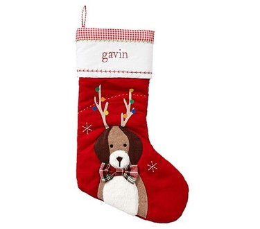 Dog with antlers stocking
