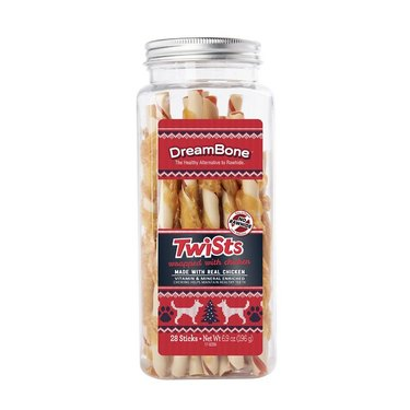 DreamBone holiday chicken wrapped twists dog treats on white background