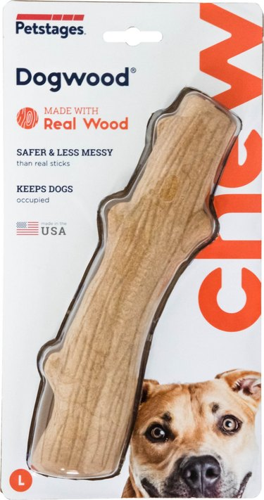dog toy made of real and synthetic wood