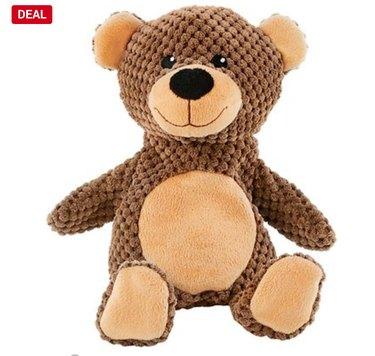 textured plush squeaking bear dog toy