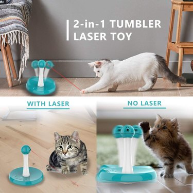 cat plays with interactive tumbler laser cat toy