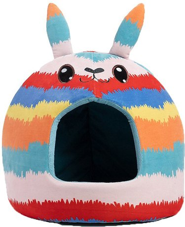 covered cat bed in shape of pinata