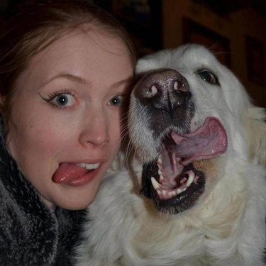 Dog and owner with their tongues out