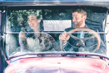 Newlywed couple and pet dog in antique car