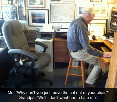 Grandpa sitting on stool so cat can have chair