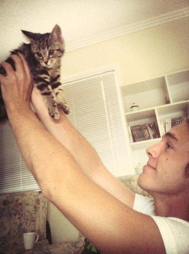 Guy holding up kitten like Simba in The Lion King