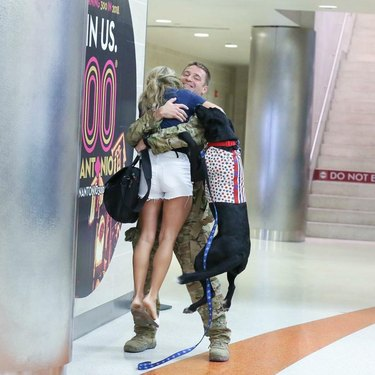 Excited dogs greet soldier in airport
