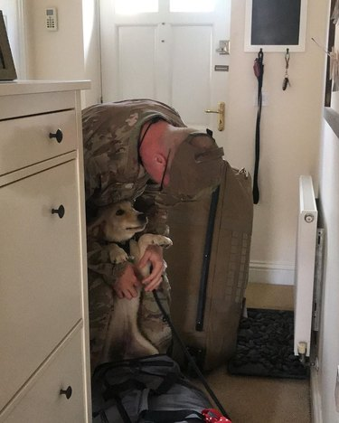 puppy greets soldier returning home