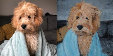 painting of dog with bed head