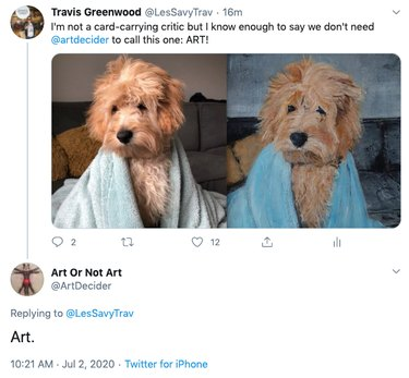 art critic agrees painting of dog with bed head is art