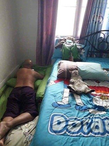 man sleeps on floor, cat slees on bed