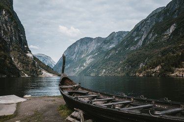 Wooden viking boat on the coastline