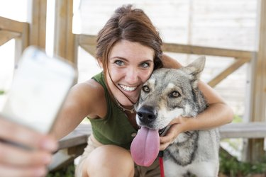 Young woman taking selfie with her dog with smartphone