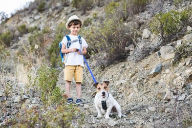 Kid with pet hiking by dog friendly trails in Cyprus mountains