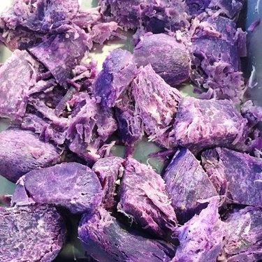 High Angle View Of Purple Taro Root