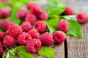 Fresh organic ripe raspberry