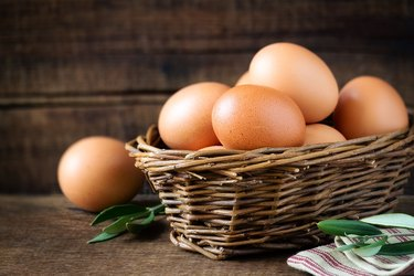 Fresh eggs in a basket