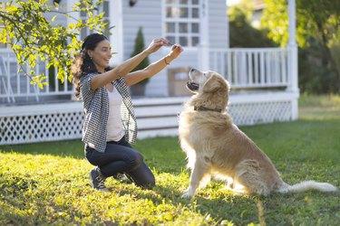 Woman training a dog in backyard