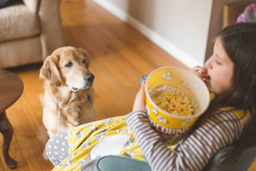 High Angle View Of Girl Eating Popcorn While Sitting At Home