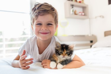 Adorable little boy and his kitten!