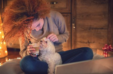 Young woman drinking coffee and playing with her Maltese puppy in a cozy Christmas atmosphere