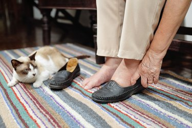 cat next to woman putting on her shoes