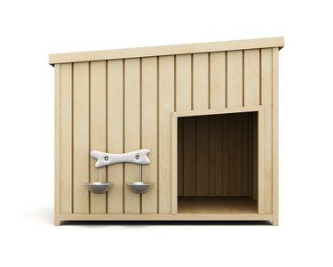 Wooden dog house isolated on a white background. 3d rendering