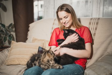 Young woman is enjoying spending time with her cats at home