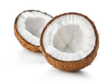 cracked coconut isolated