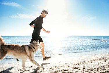 Running man with husky dog
