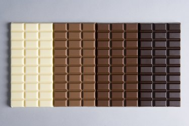 A row of chocolate bars, from white chocolate to dark chocolate