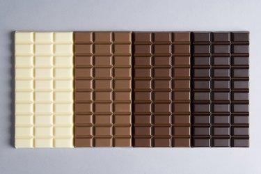 A row of chocolate bars from white chocolate to dark chocolate