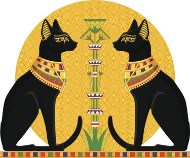 Egyptian Cats with Papyrus