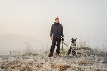 Man and his dog outdoors in rural nature on early morning