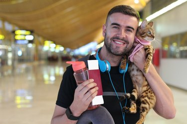 Handsome man traveling with his cat