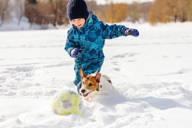 4 year old boy playing football (soccer) with his dog on snow