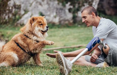 Disabled Man Sitting in Nature with his Dog
